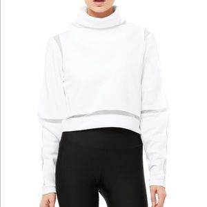 ALO YOGA White Advance Long Sleeve Turtleneck Top